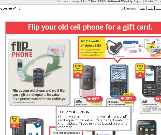 Futureshop Flyer to Swap Old Cellphone for a Gift Card