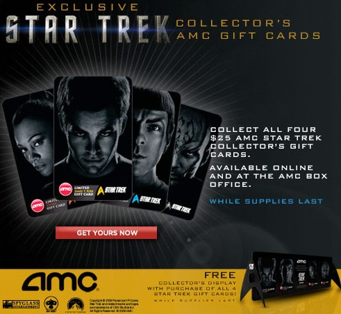 amc theatres gift cards feature star trek charecters cash in your gift cards. Black Bedroom Furniture Sets. Home Design Ideas